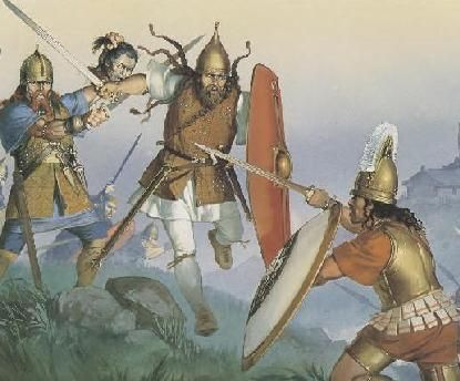 Celts attacking Etruscan warrior