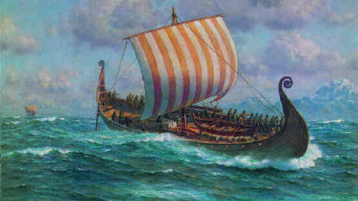 [Viking longship at sea.]