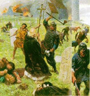 [vikings attacks monks at a monastery]