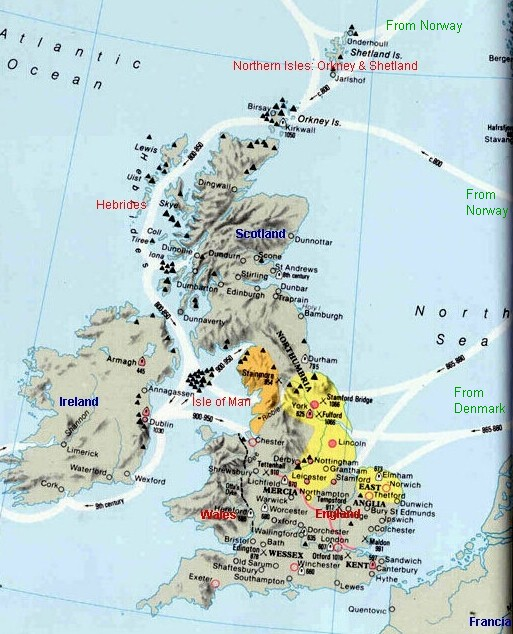 [Viking invasions routes of Britain and Ireland.]