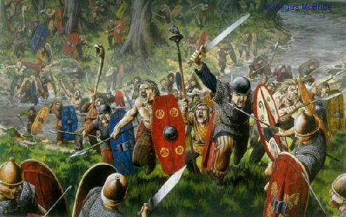 [Celtic charge at Romans]