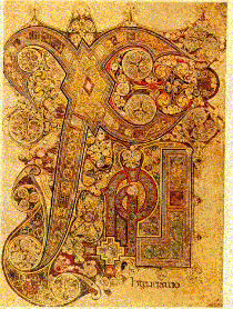 [A page of the ornate Book of Kells]